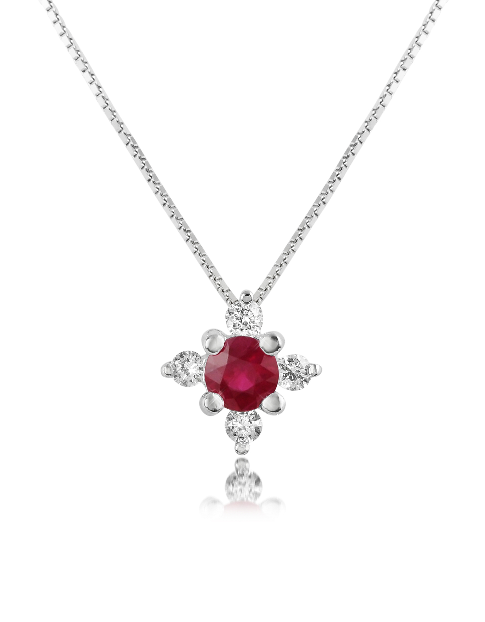 Incanto Royale Necklaces, Diamond and Ruby Flower 18K Gold Pendant Necklace