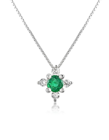 Incanto Royale - Diamond and Emerald Flower 18K Gold Pendant Necklace