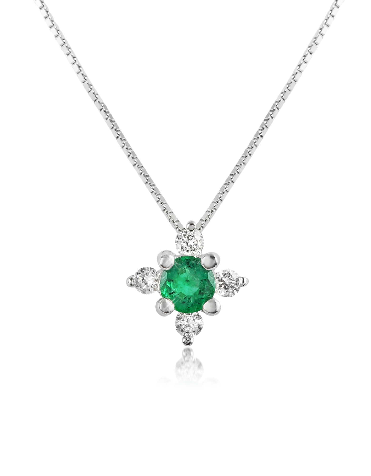 Incanto Royale Necklaces, Diamond and Emerald Flower 18K