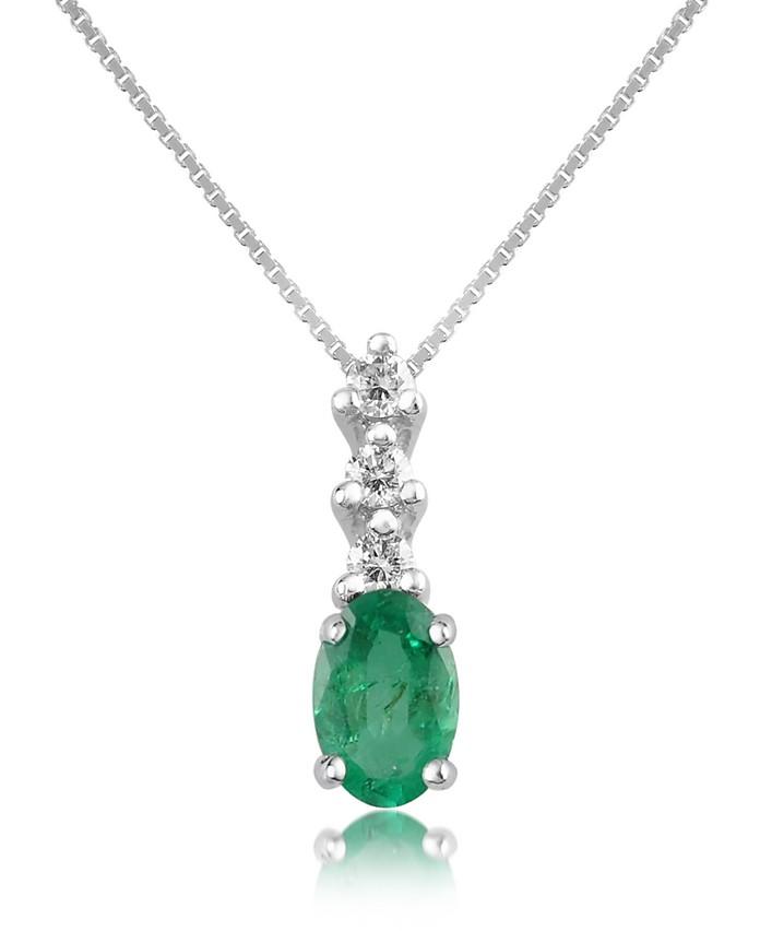 Diamond and Emerald Drop 18K Gold Pendant Necklace - Incanto Royale