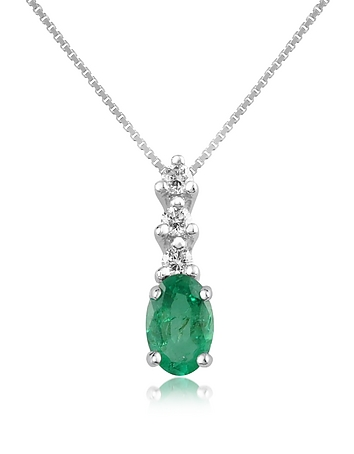 Incanto Royale - Diamond and Emerald Drop 18K Gold Pendant Necklace