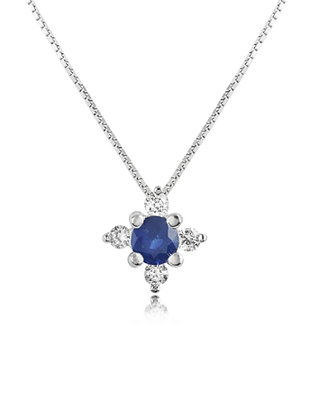 Incanto Royale - Diamond and Sapphire Flower 18K Gold Pendant Necklace