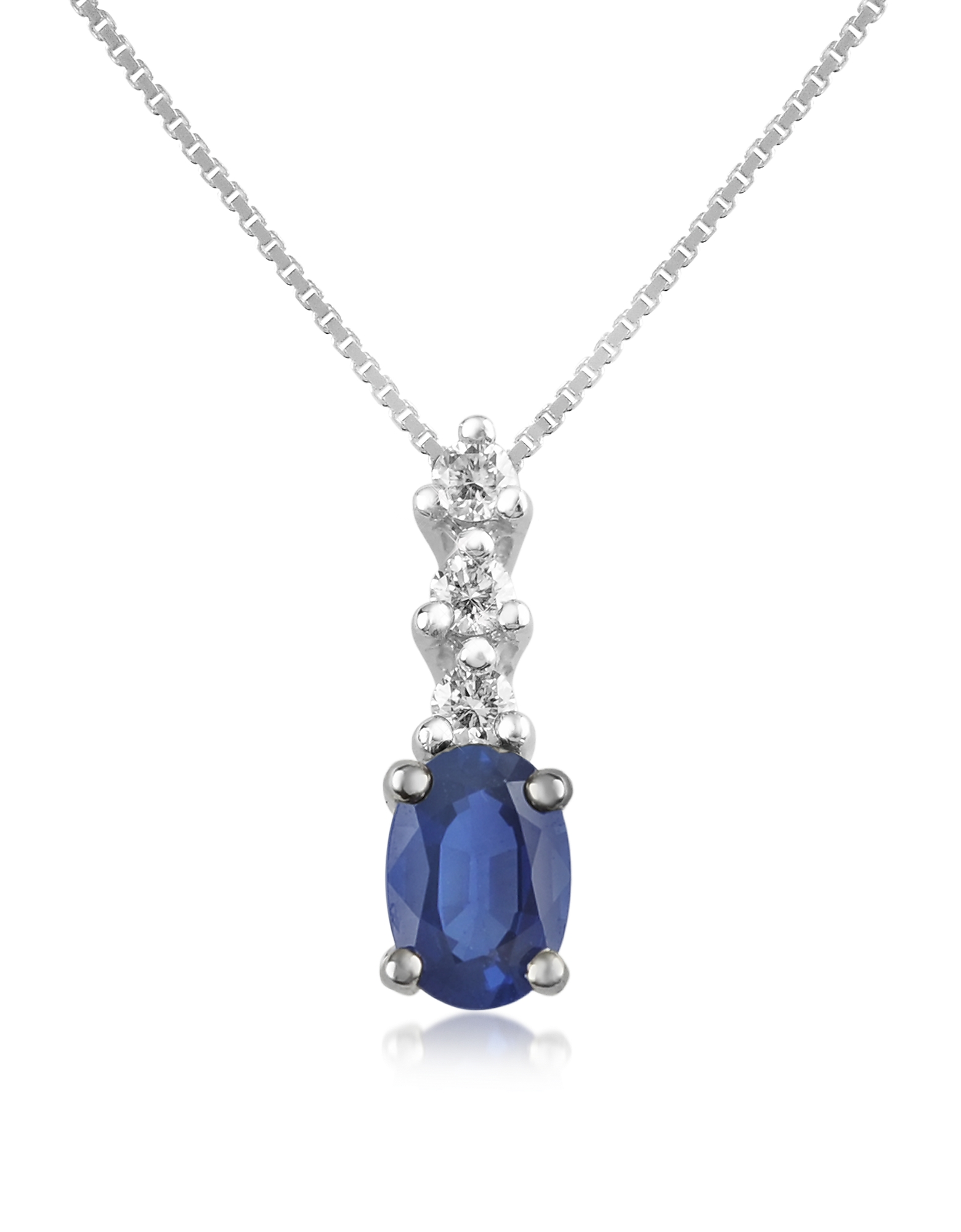 Incanto Royale Designer Necklaces, Diamond and Sapphire Drop 18K Gold Pendant Necklace