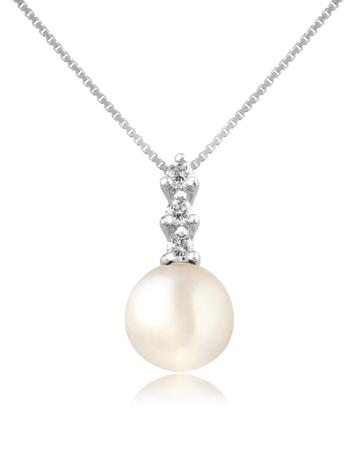 Diamond and Pearl Pendant 18K Gold Necklace