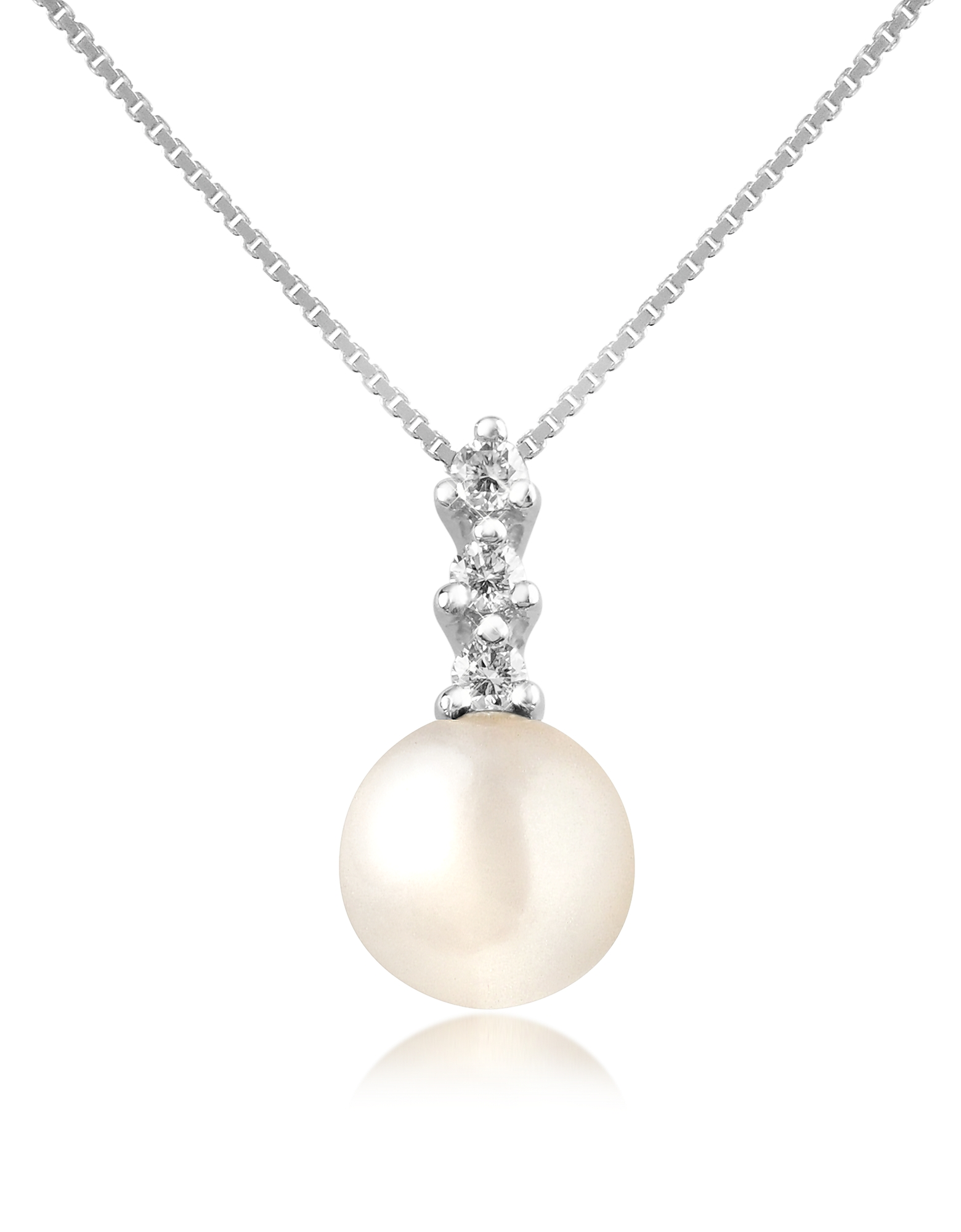 Forzieri Necklaces, Diamond and Pearl Pendant 18K Gold Necklace