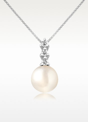 Diamond and Pearl Pendant 18K Gold Necklace - Forzieri