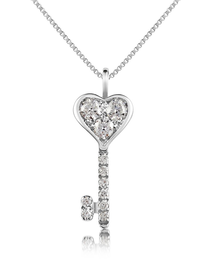 0.41 ct Diamond Key Pendant Necklace - Forzieri