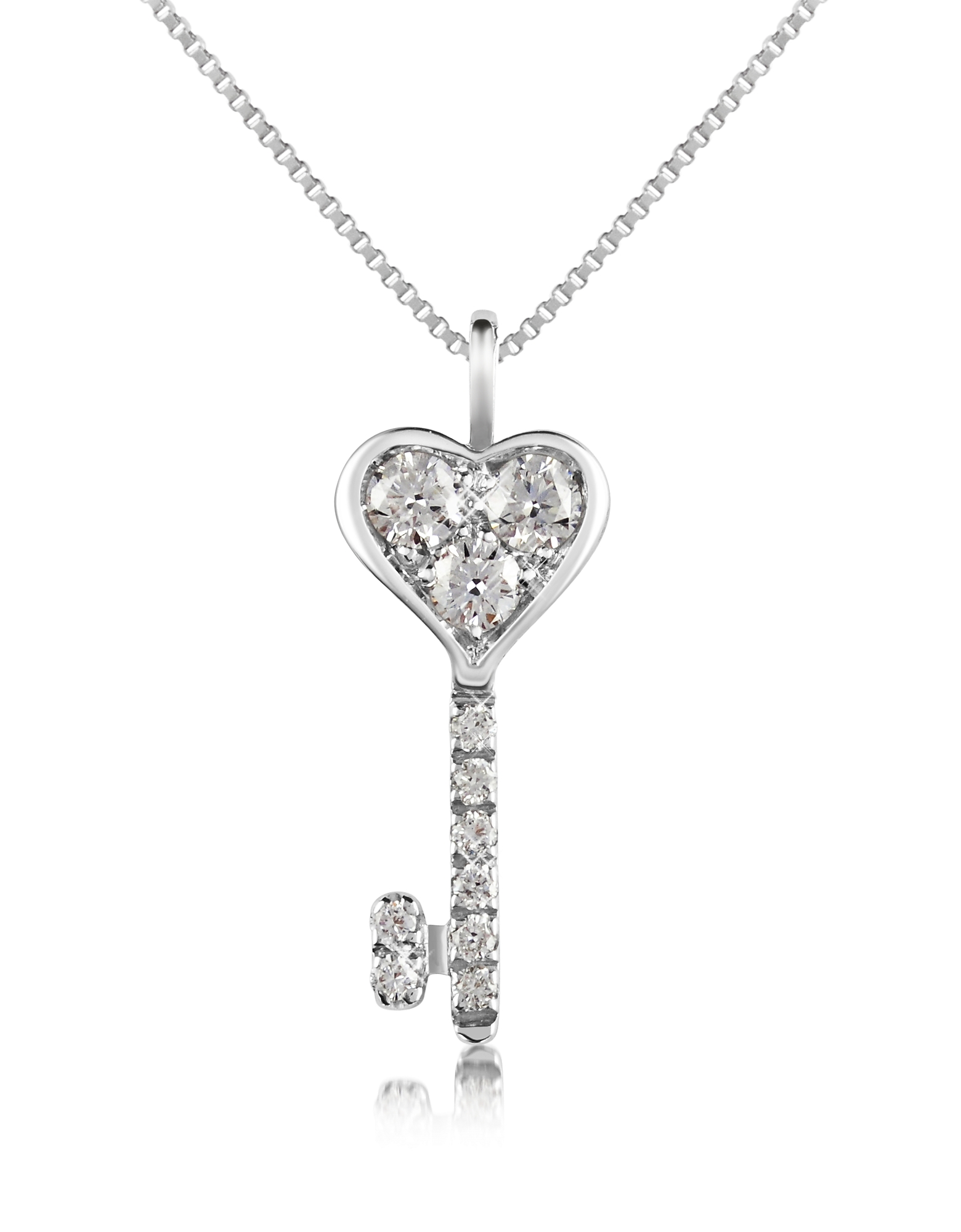 Forzieri Necklaces, 0.41 ct Diamond Key Pendant Necklace