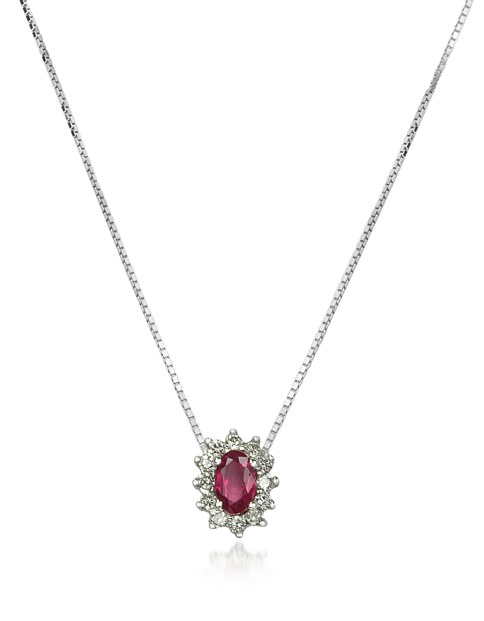 Incanto Royale Necklaces, Diamond and Ruby Drop 18K Gold Necklace