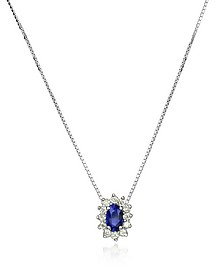 Diamond and Sapphire Drop 18K Gold Necklace - Incanto Royale
