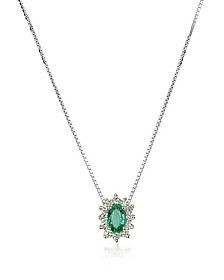 Diamond and Emerald Drop 18K Gold Necklace - Incanto Royale