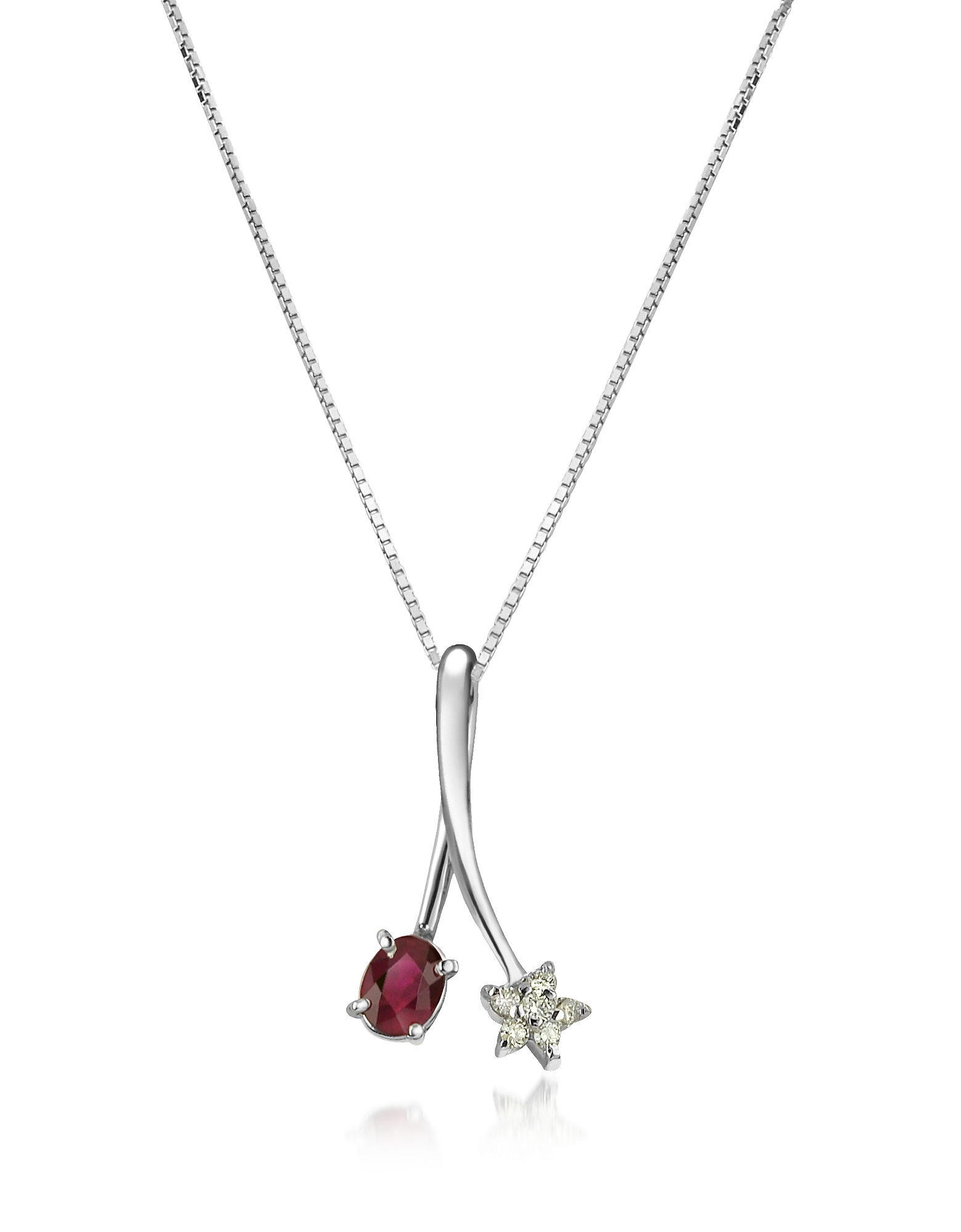 Incanto Royale Necklaces, Diamond Star and Ruby 18K Gold Pendant Necklace