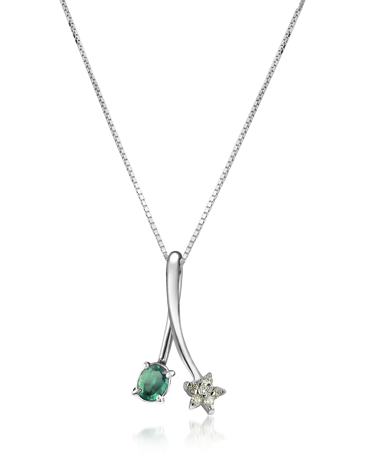 Incanto Royale Necklaces, Diamond Star and Emerald 18K Gold Pendant Necklace