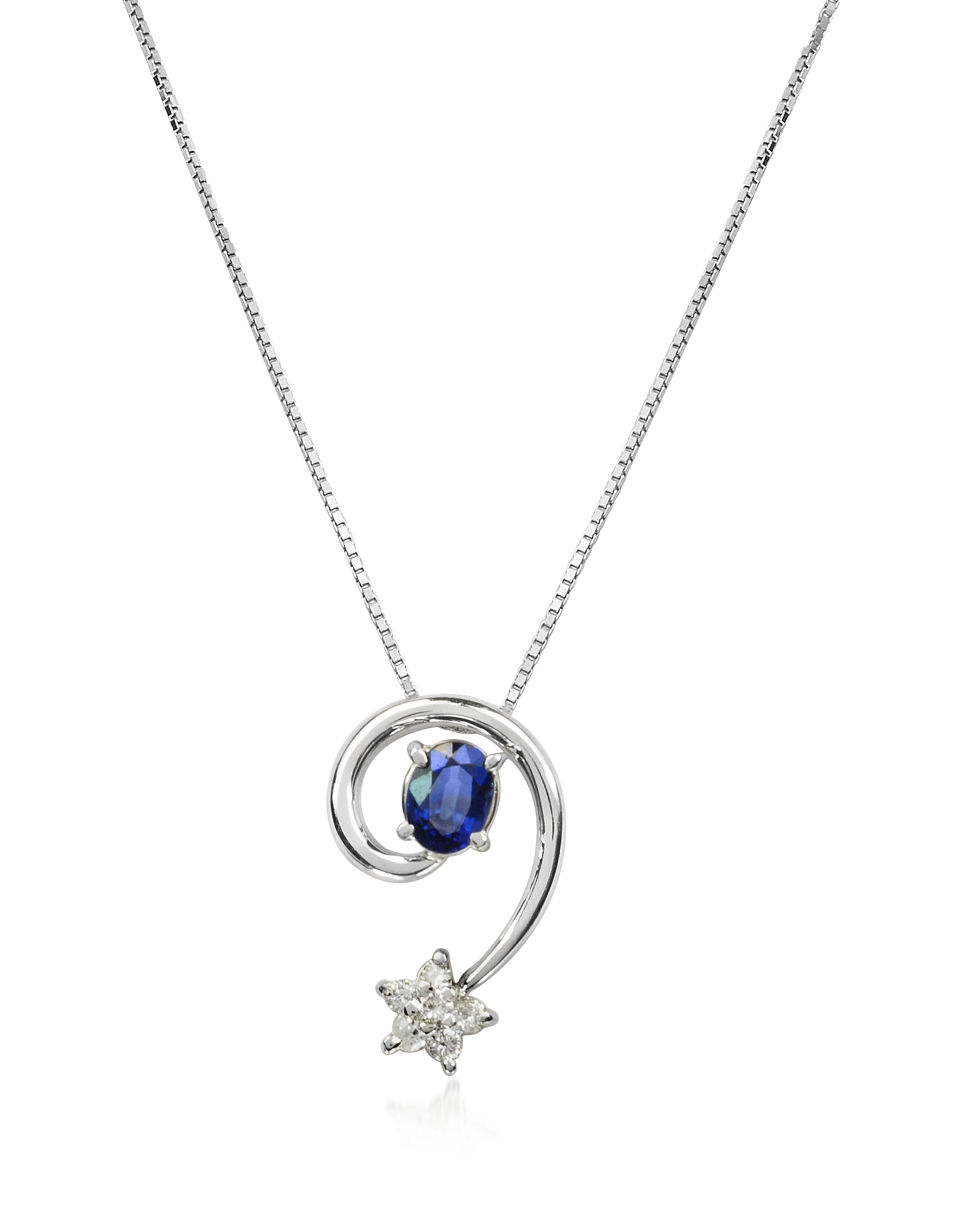 Incanto Royale Necklaces, Sapphires and Diamond Star 18K Gold Pendant Necklace
