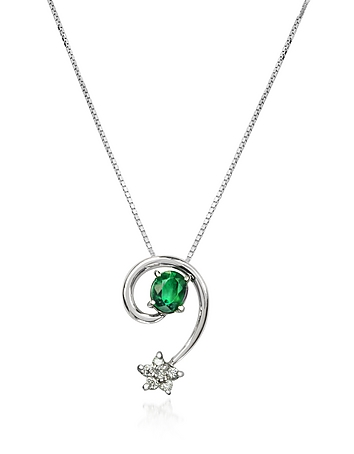 Incanto Royale - Emerald and Diamond Star 18K Gold Pendant Necklace