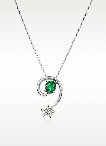 Emerald and Diamond Star 18K Gold Pendant Necklace - Incanto Royale
