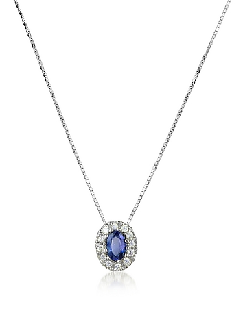 Incanto Royale - Diamond and Sapphire Round 18K Gold Pendant Necklace