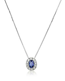 Diamond and Sapphire Round 18K Gold Pendant Necklace - Incanto Royale