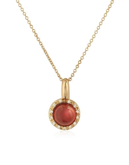 Mia Beverly Halskette aus Rosegold mit Anhänger aus Diamanten und Granat