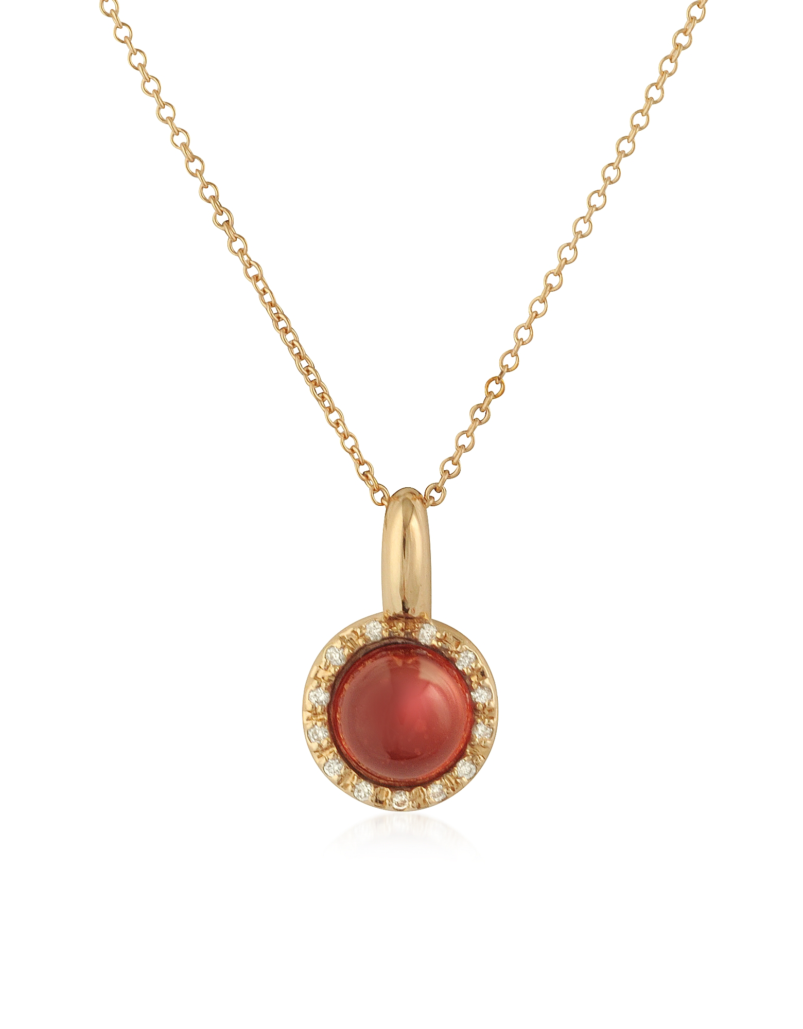 Mia & Beverly Designer Necklaces, Garnet and Diamond 18K Rose Gold Charm Necklace