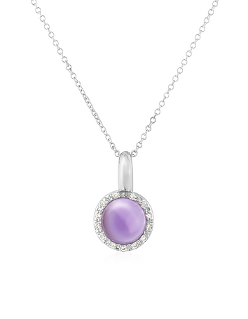 Mia & Beverly - Amethyst and Diamond 18K Gold Charm Necklace