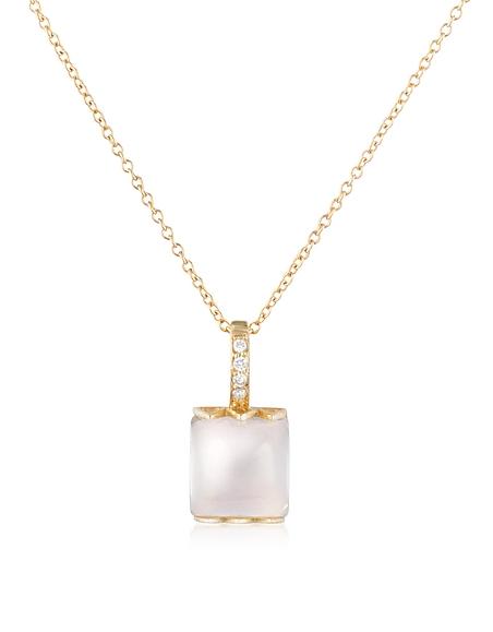 Mia & Beverly Collier en or rose 18K, quartz rose et diamant
