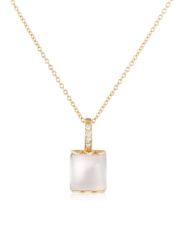 Mia & Beverly - Rose Quartz and Diamond 18K Gold Charm Necklace