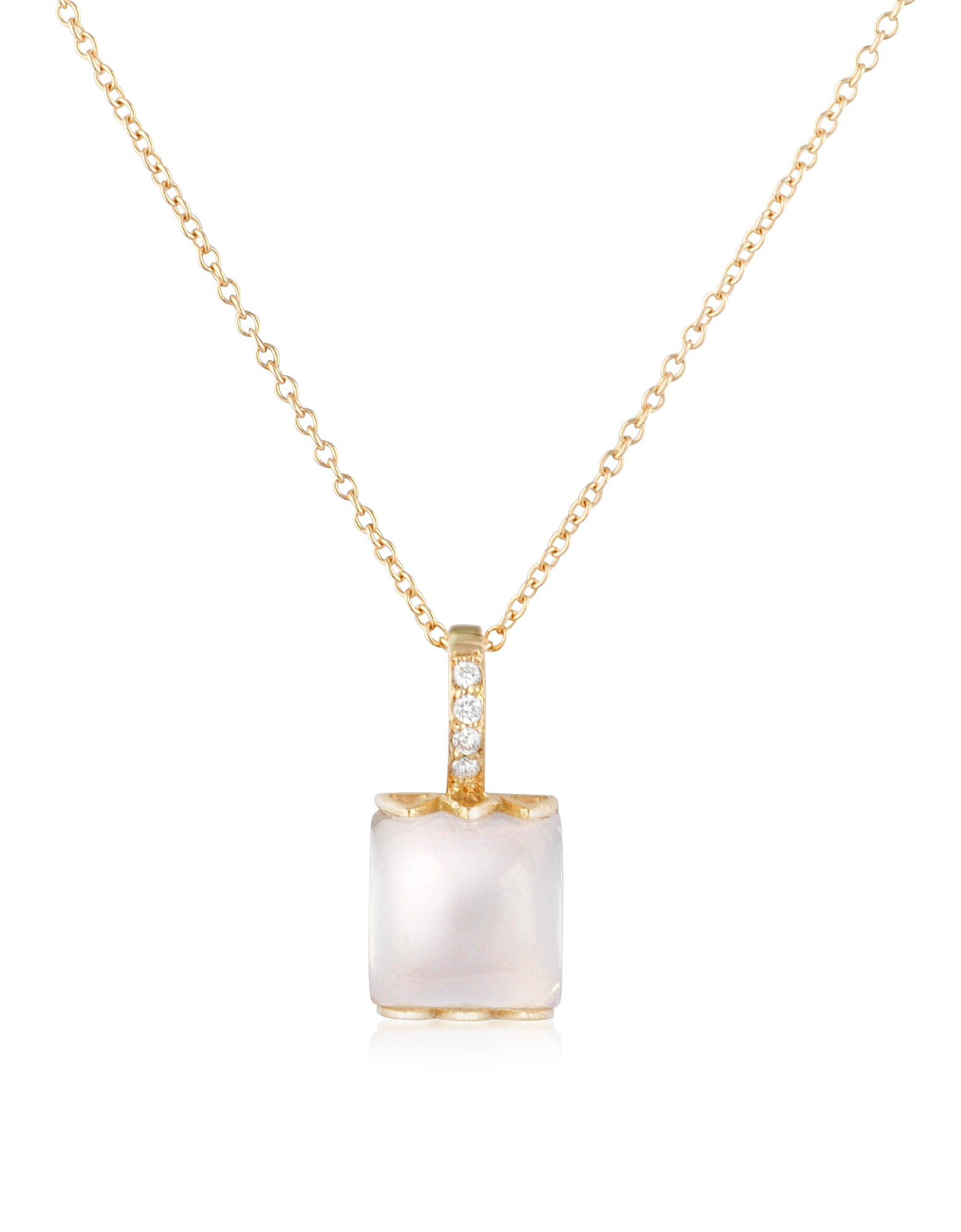 Mia & Beverly Necklaces, Rose Quartz and Diamond 18K Gold Charm Necklace
