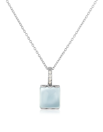 Chalcedony and Diamond 18K Gold Charm Necklace
