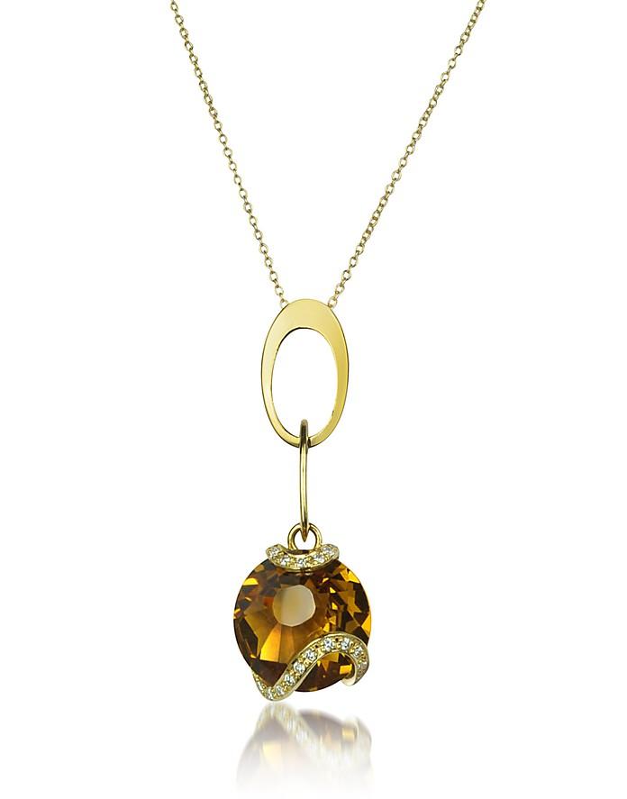 Citrine and Diamond 18K Gold Charm Necklace - Incanto Royale