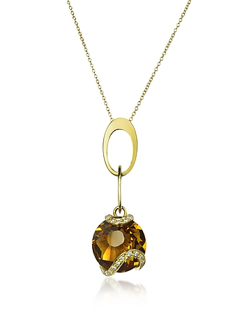 Incanto Royale - Citrine and Diamond 18K Gold Charm Necklace