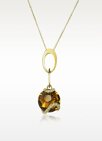 Citrine and Diamond 18K Gold Charm Necklace - Incanto Royale