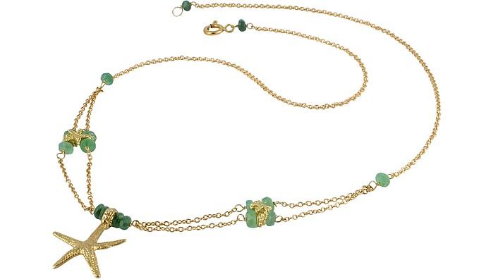Starfish Pendant Emerald & 18K Yellow Gold Necklace - Forzieri