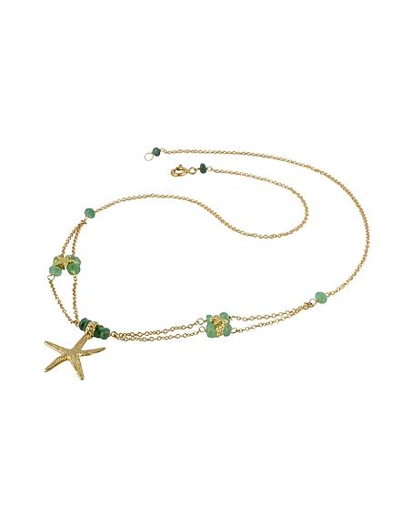 Foto Forzieri Pendente a stella marina in oro giallo 18ct e smeraldi Collane