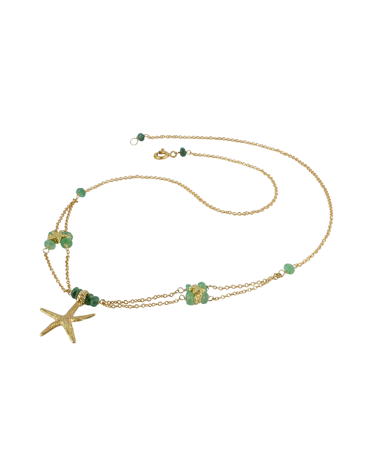 Forzieri Necklaces, Starfish Pendant Emerald & 18K Yellow Gold Necklace