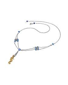 Seahorse Pendant Sapphire & 18K White Gold Necklace  - Forzieri