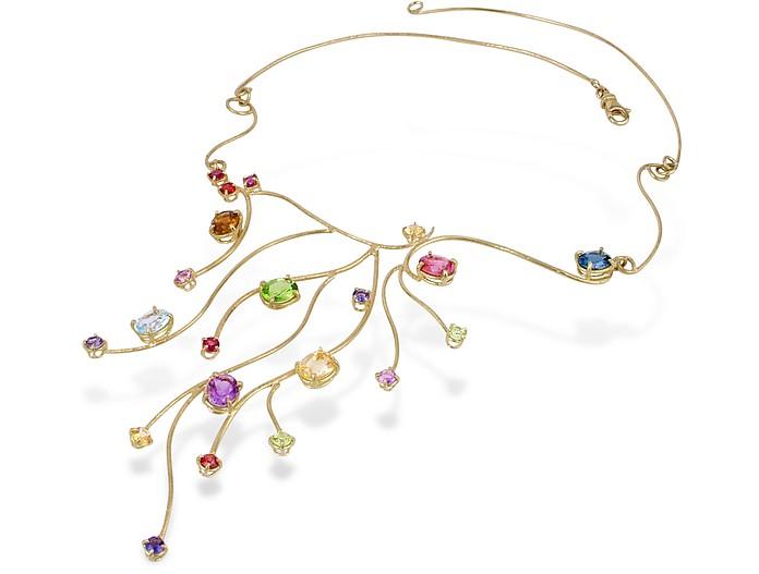 18k Yellow Gold Multi-Gemstones Necklace - Forzieri