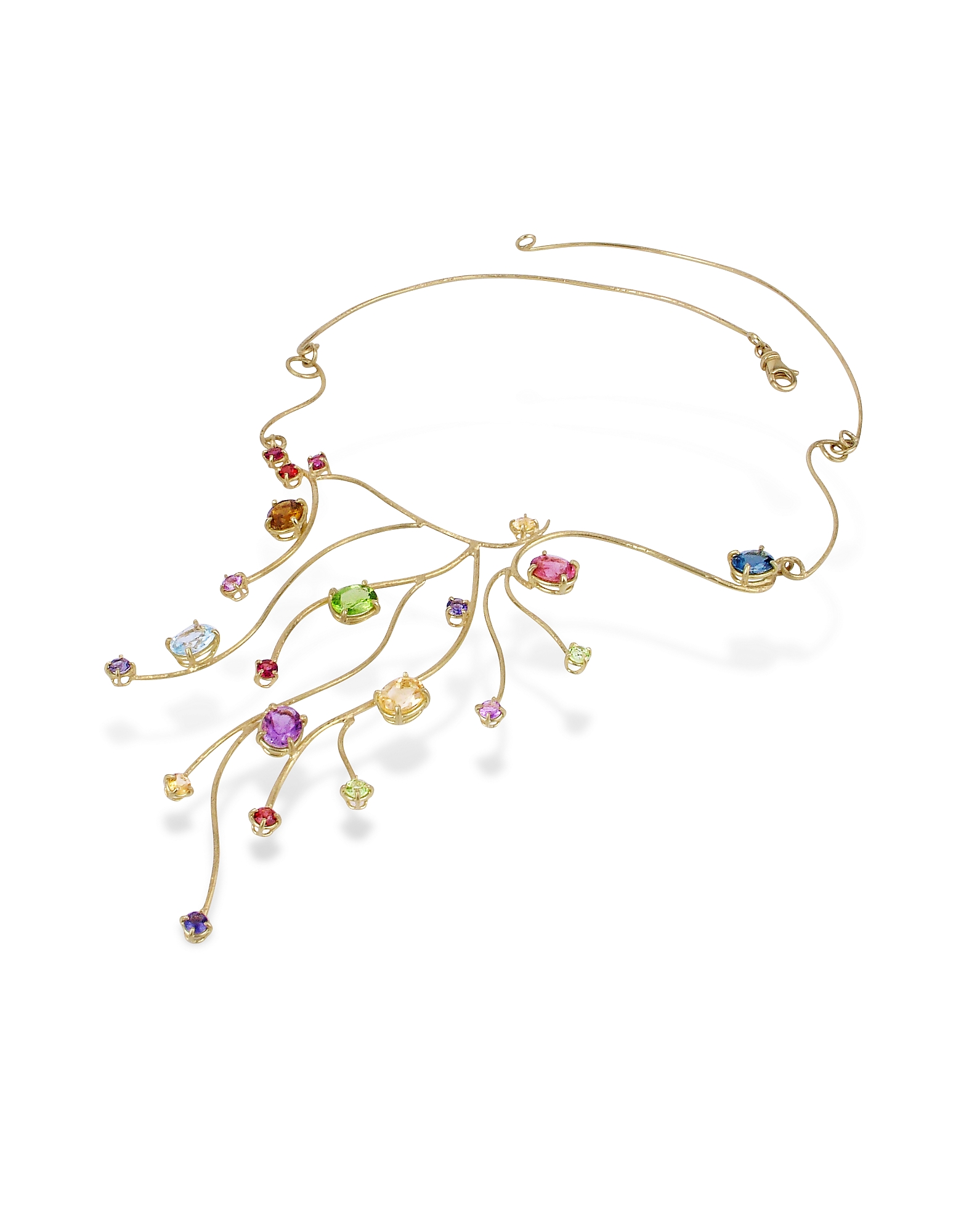 Forzieri Necklaces, 18k Yellow Gold Multi-Gemstones Necklace
