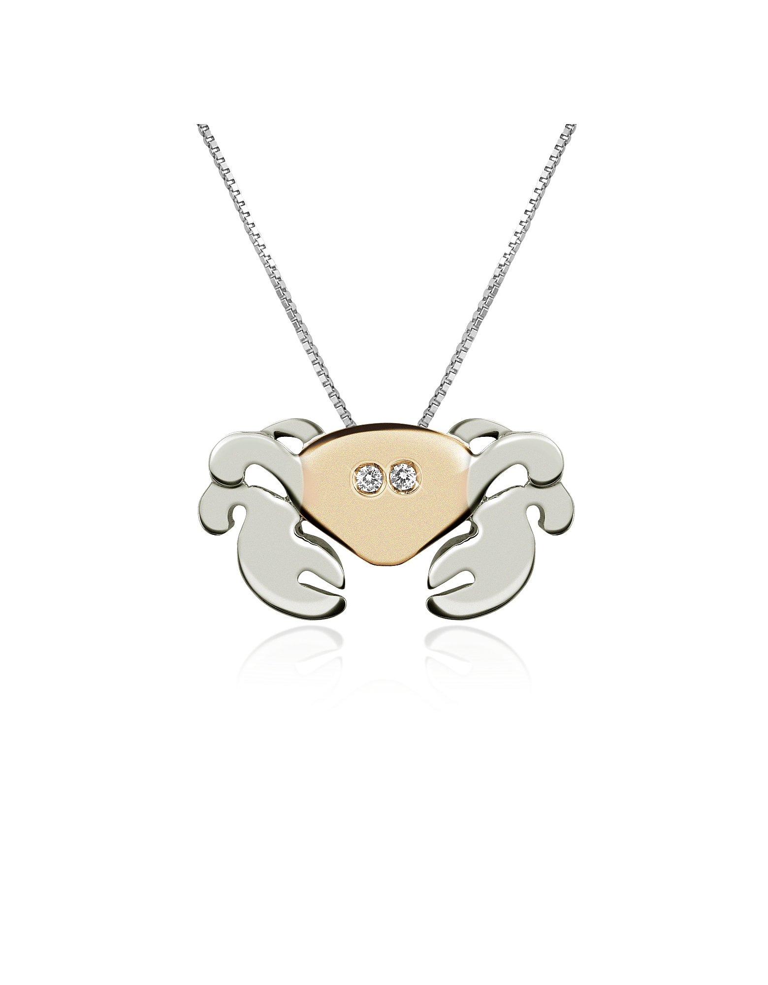 Forzieri Necklaces, Diamond 18K Gold Crab Pendant Necklace