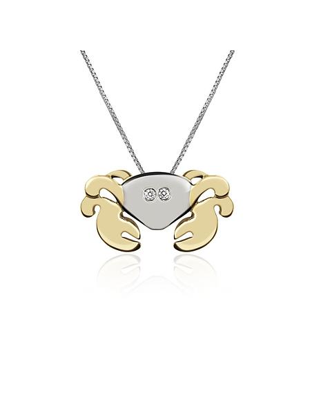 Forzieri Collier à pendentif crabe en or 750/1000 et diamant 0.02Ct