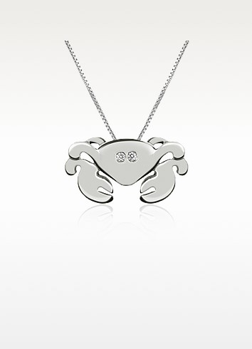Diamond 18K Gold Crab Pendant Necklace - Forzieri
