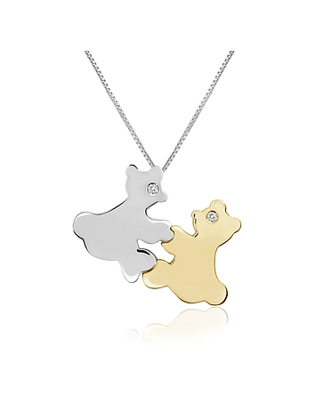Forzieri - Diamond & 18K Gold Teddy Bears Pendant Necklace