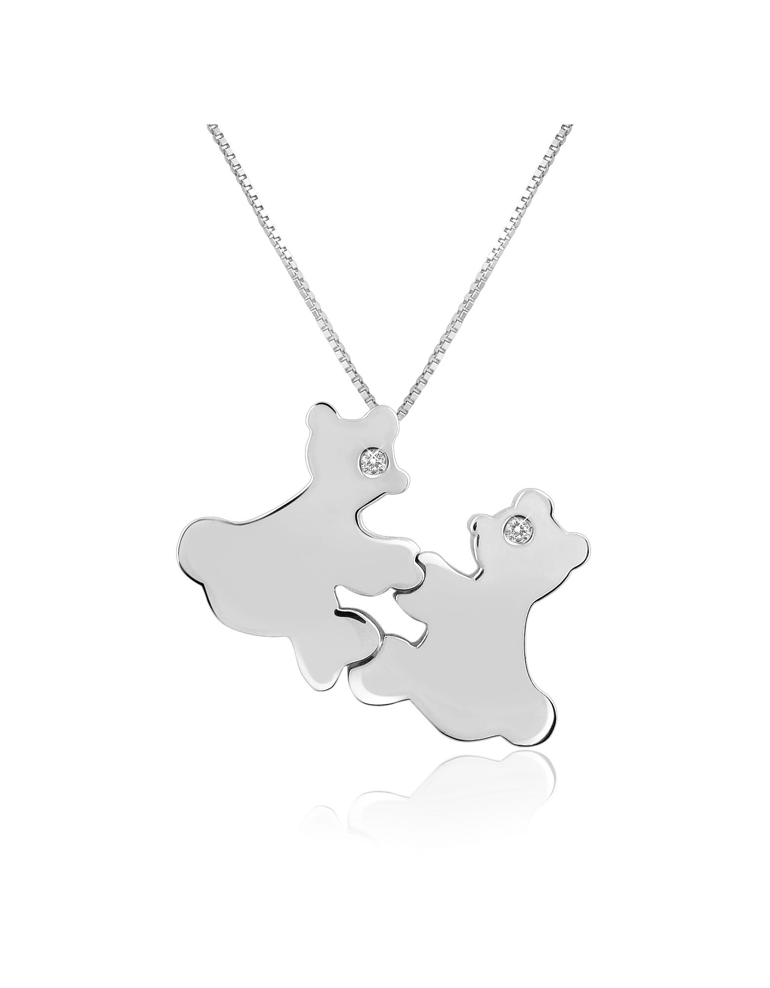Forzieri Necklaces, Diamond & 18K Gold Teddy Bears Pendant Necklace