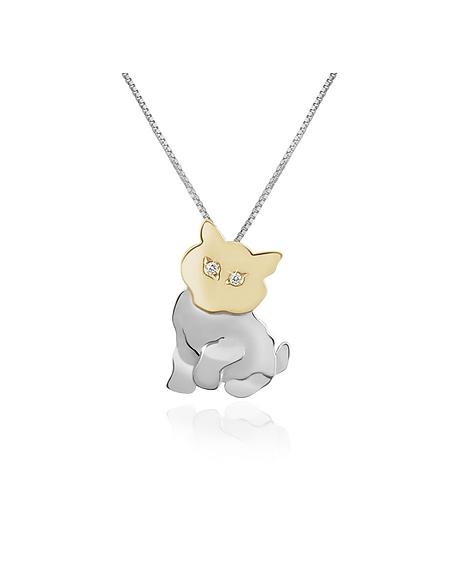 Forzieri Collier chat en or 750/1000 et diamant 0.02Ct