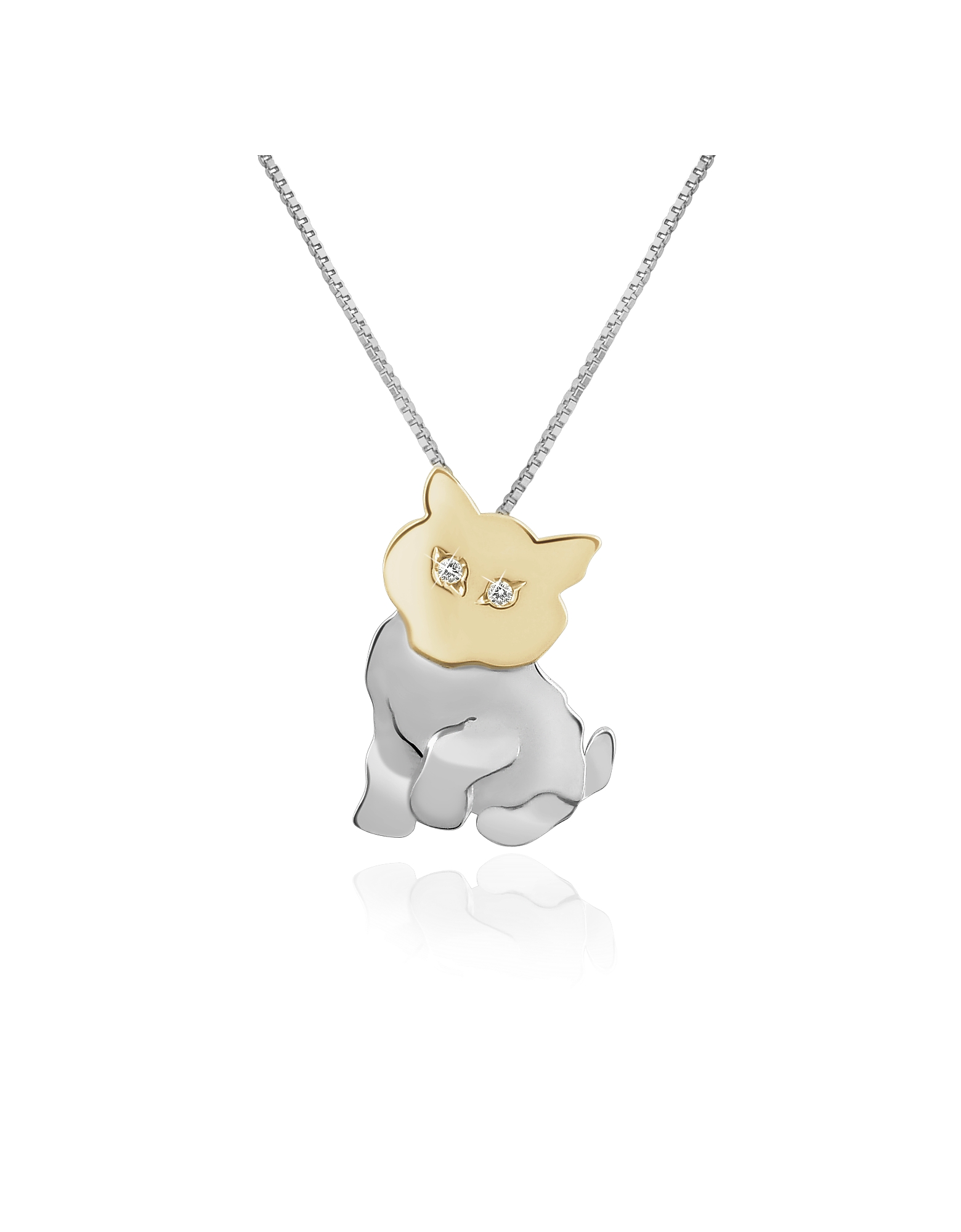 Forzieri Necklaces, Diamond & 18K Gold Cat Pendant Necklace