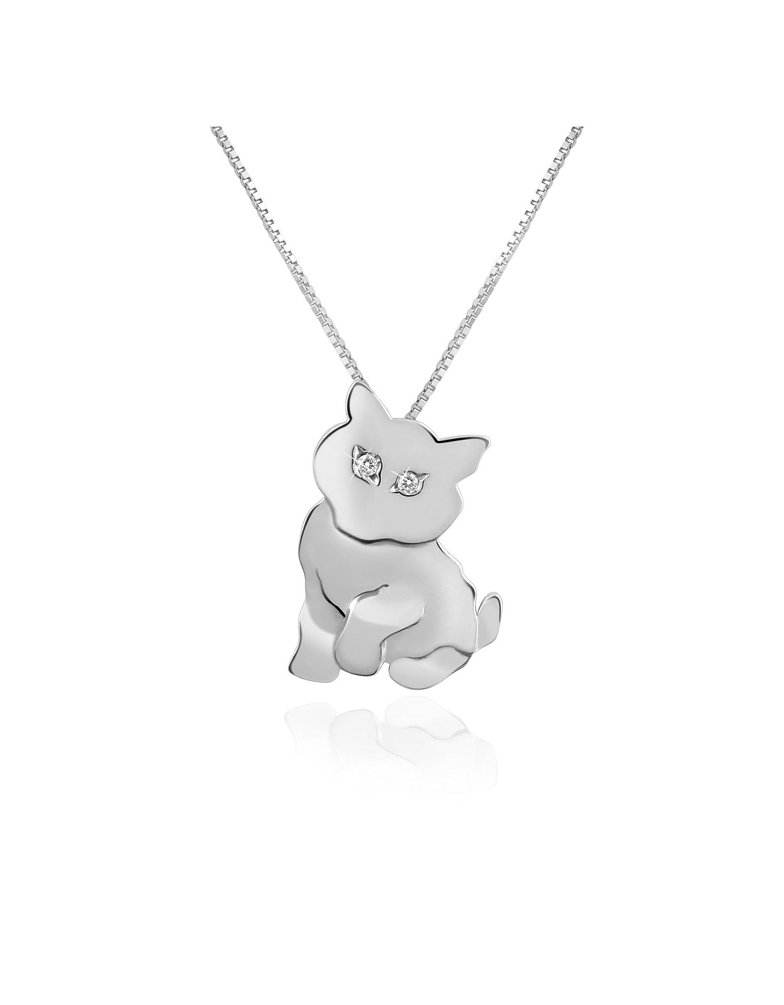 Forzieri Designer Necklaces, Diamond & 18K Gold Cat Pendant Necklace
