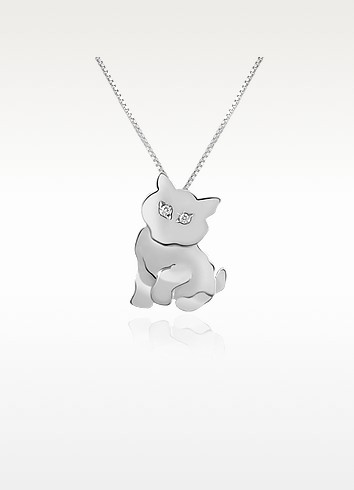 Diamond & 18K Gold Cat Pendant Necklace  - Forzieri