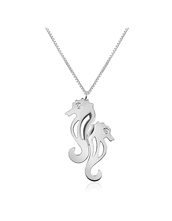 Forzieri - Diamond & 18K Gold Seahorses Pendant Necklace