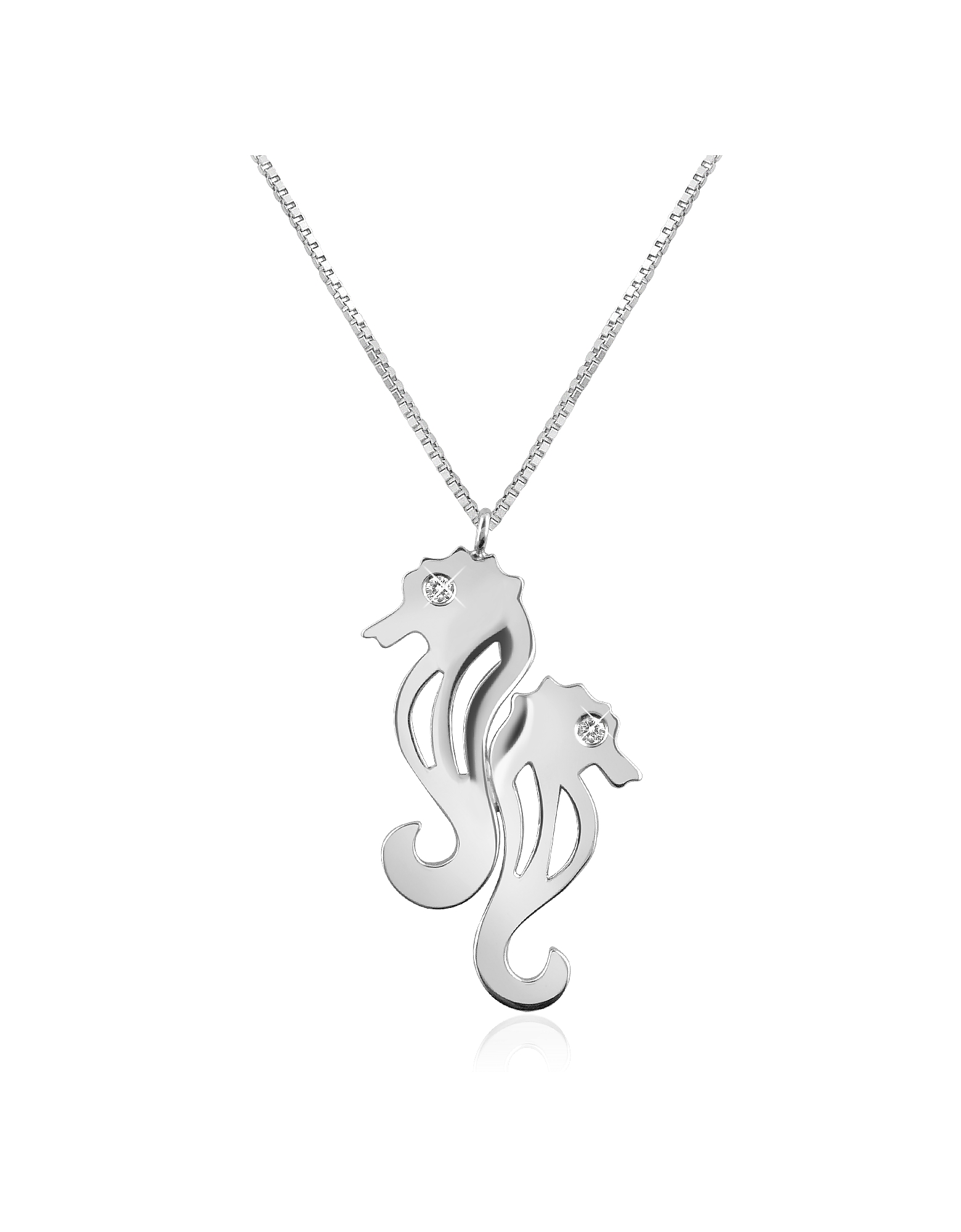 Forzieri Necklaces, Diamond & 18K Gold Seahorses Pendant Necklace