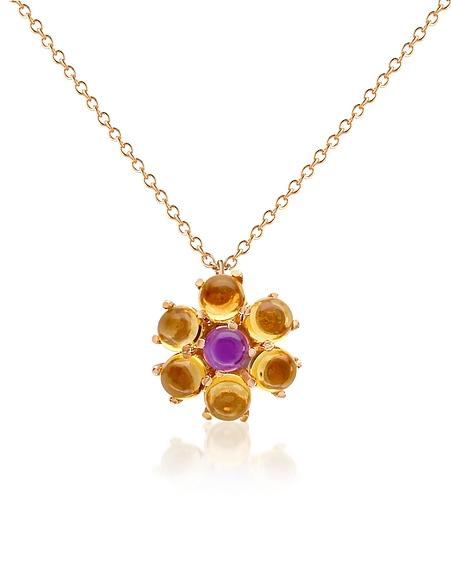 Forzieri Collier en or 750 à pendentif fleur améthyste et citrine